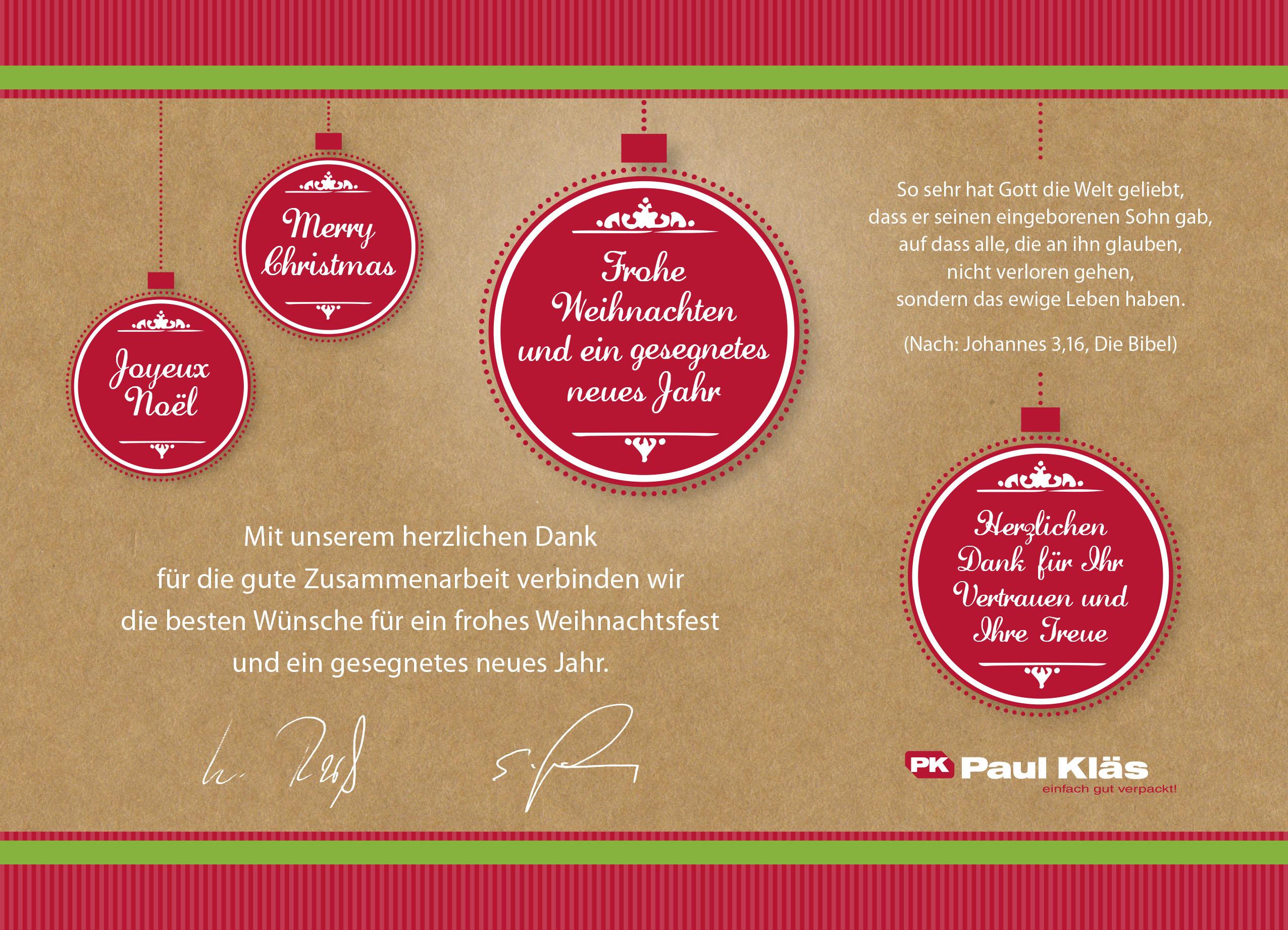 Frohe Weihnachten und ein gesegnetes neues Jahr // Paul Kläs GmbH